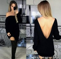Wholesale Black Knit Tunic Top - 2017 new Women Casual knitted sweater Dresses Fashion sexy Backless Jumper Tops Ladies Long Sleeve Loose Tunic Mini Dress