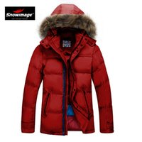 Wholesale Children Detachable Collar - Men and children in long down jacket young juvenile red fur collar thick outerwear winter down jacket ski suit free shipping
