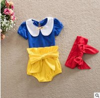 Wholesale Wholesale Snow White Doll - Princess Girls Outfit New Summer Bow Doll Collar Tops T shirt +Butterfly Shorts+hair band Infant Clothing Sets Snow White 3pcs Suit 6588