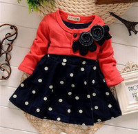 Wholesale Long Sleeve Knit Mini Dresses - New 2-5 Years Child Clothes Corsage Girl Winter Dresses Baby Princess Dress Flower Knitted Long Sleeve Patchworl Dots Mini Dress