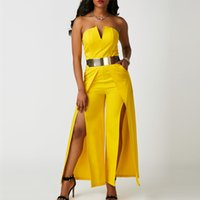 Wholesale Sexy Strapless Jumpsuit - 2018 Ladies Evening Party Jumpsuit Sexy Strapless Split Wide Leg Jumpsuits White Yellow Slim-Fit Long Rompers S-2XL ZSJG0801