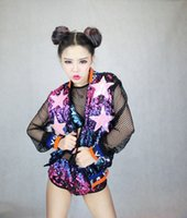 Wholesale Letter Belly Bars - Bar stage singer DJ female costume colorful Sparkly Sequin letter costume uniforms sets Jacket top shorts Hip hop Dance Wear