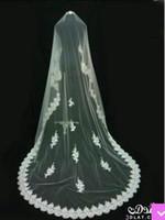Wholesale Soft White Wedding Veils - 2017 Wedding Bridal Veils vesitodos de noiva Wedding Accessories Soft Net 2015 White Lace Appliques Edge Free shipping