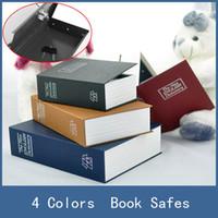 safes toptan satış-Güvenli Kutu 4 Renkler Çelik Sözlük Gizli Güvenlik Gizli Sandık Kasa Kitap Kasalar, Küçük Para Para Mağaza Anahtar Kilit Kutusu