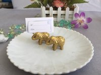 Wholesale unique elephant gifts - Hot Golden Lucky Elephant Place Card Holder Holders Name Number Table Place Wedding Favor Gift Unique Party Favors