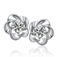 Wholesale Plum Blossom Flower Earring - Plum blossom Crystal stud earrings Silver plated earrings Copper Earing Ear Stud Factory direct sale
