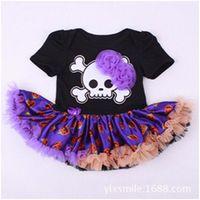 Wholesale Wholesale Pink Onesie - Little Girls Boutique Outfit ,Newborn Halloween Party Tutu Onesie ,Black Skull Printed Tutu Onesie ,Baby Girls Clothes ,Newborn