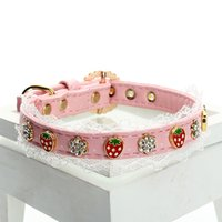 Wholesale Dog Collars Strawberries - Pink Color Small Middle Dog Training Leash&Collar With Diamond&Pearl Cute Strawberry Lead Rope Top Quality 3 Size 5Set LOT