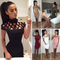 Wholesale colors dresses for sale - Hollow Short Sleeve Dress Women Summer Bodycon Sexy Hip Dress Evening Party Clubwear Colors OOA3332