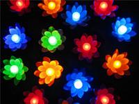 velas de lótus flutuantes venda por atacado-Artificial LED Vela Flutuante Flor de Lótus Com Luzes Coloridas Mudou Para O Aniversário de Casamento Decorações Do Partido Suprimentos Ornamento