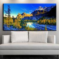 Wholesale Canvas Art Blue Tree - ZZ1534 beautiful landscape canvas prints art blue sky mountain lake tree scenery canvas oil art painting for livingroom wall art