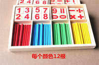 Wholesale Wooden Math Sticks - 2016 New Baby Children Wooden Counting Math Game Mathematics Toys Kids Preschool Education Intelligence Stick Figures Box ZD023