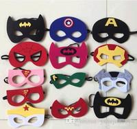Wholesale Kids Fedex Costume - costume Party masks halloween cosplay masks kids superman captain america batman felt mask for cartoons 100 styles by DHL or Fedex