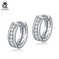Wholesale Earring Studs For Sale - ORSA Jewelry New Arrival Classy Hoop Earring for Ladies Silver with Platinum Plated Hot Sale OE101