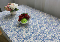 Wholesale Chinese Style Table Cloth Simplicity Patterns Cotton Linen Textiles Retro Blue and White Porcelain Table Cloth