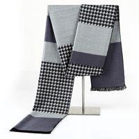 Wholesale Korea Fashion Winter - Korea Winter Design Plaid Scarf Men Shawls Scarves 2016 Brand Fashion Pashmina Wrap Men Business Warm Scarf Echarpe With Tassels