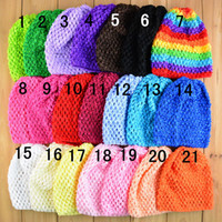 "Wholesale Hat Waffle Beanie Crochet - 50pcs Colorful Baby 6"" Crochet Beanie Hats Infant Handmade Knit Waffle hat String Wheat Caps Newborn cap 21colors"