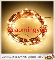 12v partei führte schnur lichter großhandel-YON wasserdichte DC12V 20M 200LED LED Lichterketten Weihnachtslichterketten 8 Farben Kupferdraht LED Sternenlichter Hochzeitsdekoration
