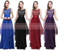Wholesale V Neck Jewel Blue - 2016 Royal Blue In Stock Long Evening Dresses Sexy A Line Jewel Neck V Cut Backless Chiffon Prom Party Hot Cheap Bridesmaid Gowns CPS251