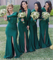 Wholesale Sexy Silk Wedding Dresses - Hunter Green Sexy Split Bridesmaid Dresses Deep V Neck Long Sleeves Sweep Train 2016 Custom Made Maid Of Honor Wedding Party Guest Gowns