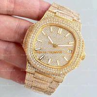 Wholesale Best Movements - Best Quality Nautilus Full Diamond Watch Automatic Movement Mechanical Waterproof Luxury AAA Man Watch 40mm 5719 1G-001 FullIce Man Watch