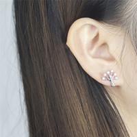 Wholesale Pierced Earring Tree - Wholesale 10Pcs lot 2017 New Fashion CZ Flower Piercing 925 Earring Crystal Jewelry Lot Earrings Tree of Life 18K Gold Earrings for Women