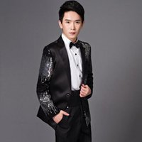 Wholesale Man Suits Wholesale - Men Fashion Sequins Pant Suits Bust Suit Casual Suit Jacket Black And Red Wedding Master Of Ceremonies Presided Studio Clothing CCA7192 5set