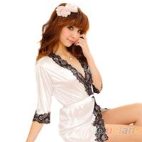 Wholesale Wholesale Robes For Women - Wholesale- Hot Sale Sexy Lingerie Underwear Set Faux Silk Lace Work Sleepwear Bathrobe Bath Robe Nightgown for Women 4 Colors 02X1 4MQ4