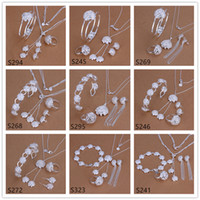 Wholesale Sterling Silver Rings Bracelets Mix - 6 sets mixed style women's sterling silver jewelry sets,fashion 925 silver Necklace Bracelet Earring Ring jewelry set GTS40 free shipping