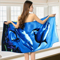 Wholesale Great Towels - Body Towel Cute Style Microfiber Fabric Dolphin Beach Towel Quick-Dry Bath Towel Fitness Beach Swim Camping 70x150cm multiple styles great