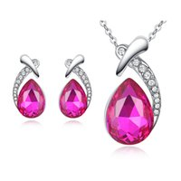 Wholesale Red Teardrop Earrings - Elegant Women Jewelry Set White Gold Plated AAA CZ Teardrop Earrings Necklace Set for Girls Women for Party Wedding JS-113