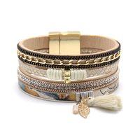 Wholesale cuff leather bracelet stones - Wholesale- Fashion Women Trendy Rhinestone Set Natural Stone Set Magnet Buckle Wrap Leather Bracelet Jewelry