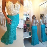 Wholesale Turquoise Lace Evening Dresses - 2016 Custom Turquoise Mermaid Prom Dresses 2K16 Illusion Neckline See Though Back Lace Beaded Evening Gowns Formal Pageant Party Gown BA2657