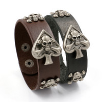 Wholesale Mens Wide Leather Cuff Bracelets - Fashion Mens Wide Leather Bracelets Bangles Punk Hip Hop Rivet Heart Skull Charm Bracelets Band Cuff Bracelets Wristband For Unisex Jewelry