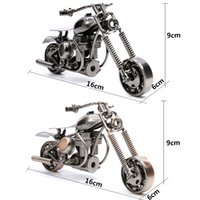 Wholesale Handmade Metal Motorcycles - Handmade Wrought Iron Motorcycle Model Metal Handicraft Artware Craft Collection Home Table Decoration Black Bronze M30-M34