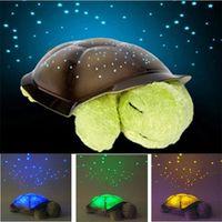 Wholesale Tortoise Night Lamp - Wholesale- Creative Tortoise Star Constellation Projector Lamp Musical Tortoise Night Light Children Bedroom Plush Toys sky full of stars