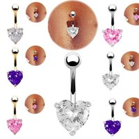 Wholesale Heart Belly - Wholesale 6pcs lot Delicate Gold Heart Belly Button Rings Ombligo Navel Piercing Body Jewelry Piercing Umbigo Body Jewelry