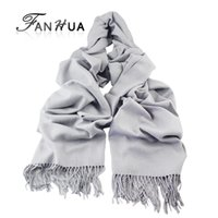 Wholesale Cotton Wide Shawls - Wholesale-2016 New Autumn Winter Scarf Fashion Gray Beige Cotton Solid Color Long Scarves For Women Wide Soft Warm Wrap Scarves Shawl