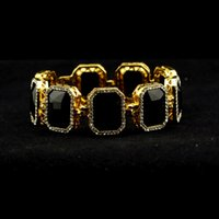 Wholesale Ice Women Watches - wholesale watch Geometric bracelets for women Iced Out Black gold Bracelet Ruby Rappers Style Link bangles