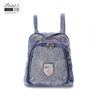 New Vintage Fashion Casual Beads Diamond Denim Small Zaino Borse da scuola Jean Donna Daypacks Shopping bolsa feminina
