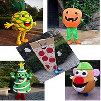 Wholesale Halloween Pumpkin Mascot - Fruits Vegetables Mascot Costumes Complete Outfits pumpkin Christmas tree Costume Adult children size Fancy Halloween Party Dress with high