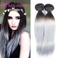 Wholesale Malaysian Straight Bundles - 2016 Ombre silver Color 1B Grey Malaysian straight hair colorful hair ,Human Hair extension 2pcs lot Hot Beauty Ombre Hair Weave Bundles