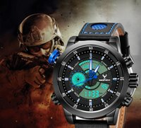 Wholesale Stop Digital - analog digital brand outdoor mens sports watches genuine leather big dial blue quartz multifunction men's fashion army stop watch male clock