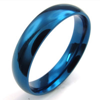 072617-Ring gros Chine Men and Women's en acier inoxydable bijoux bague bleue, largeur 5mm, bande confort Fit, US Taille 6-13