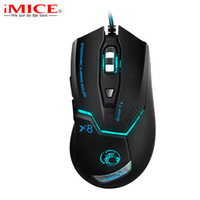 Atacado iMice Ergonômico Wired Gaming Mouse USB Optical Gamer Mouse Profissional 3200DPI 6 Botões Computer Game Mouse Mice Para PC Dota 2