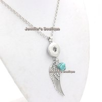 pendentif anges achat en gros de-Plus récent collier de pression interchangeable 18mm Snap Vintage Angel Wing collier pendentif pour bouton interchangeable 18mm Snap Jewelry