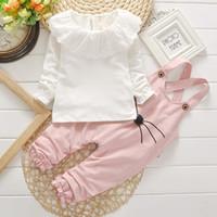 Wholesale Girl S Suits Pieces - Autumn kids suit girl long sleeve T-shirt+pant set 2 pieces children clothes suit cotton clothing 4 s l