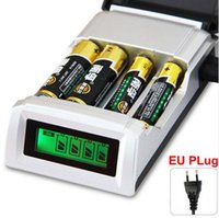Wholesale Nimh Charger Lcd - Universal C905W 4 Slots LCD Display Smart Intelligent li-ion Battery Charger for AA AAA NiCd NiMh Rechargeable Batteries EU US Plug