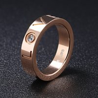Wholesale Titanium Girlfriend Rings - XS Titanium Steel LOVE Jewelry Rose Gold Plated Ring Crystal Mosaic Personality Girlfriend Gift Wholesale