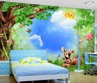 pegatinas de pared de animales del bosque al por mayor-Rollo de papel pintado de fotos personalizado Bosque de dibujos animados animales habitación de los niños mural telón de fondo 3d fondos de pantalla pegatinas de niños murales de pared papel tapiz
